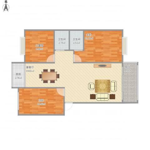 井大丽景苑3室1厅2卫1厨111.00㎡户型图