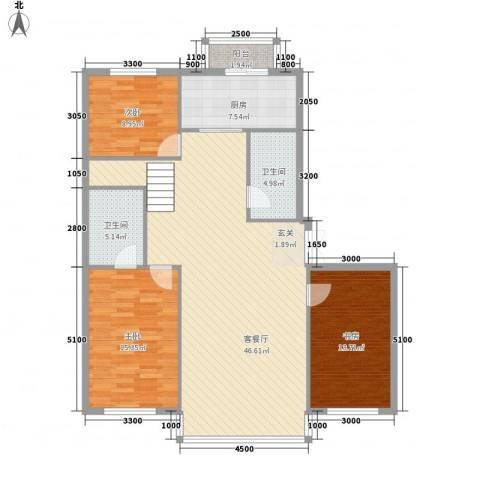 祥瑞家园3室1厅2卫1厨104.22㎡户型图