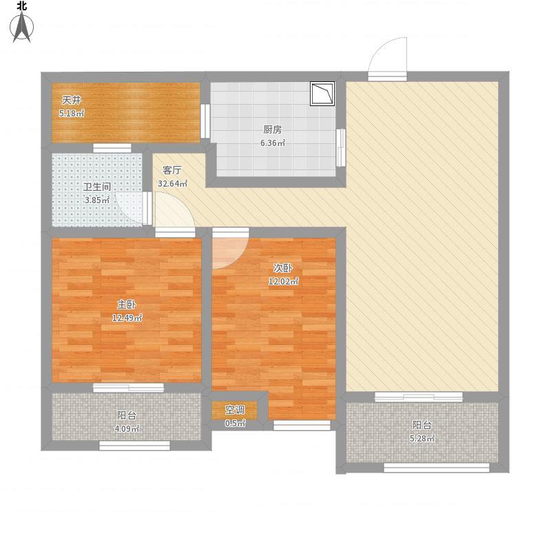 绿地中央广场第三期两室两厅一厨一卫