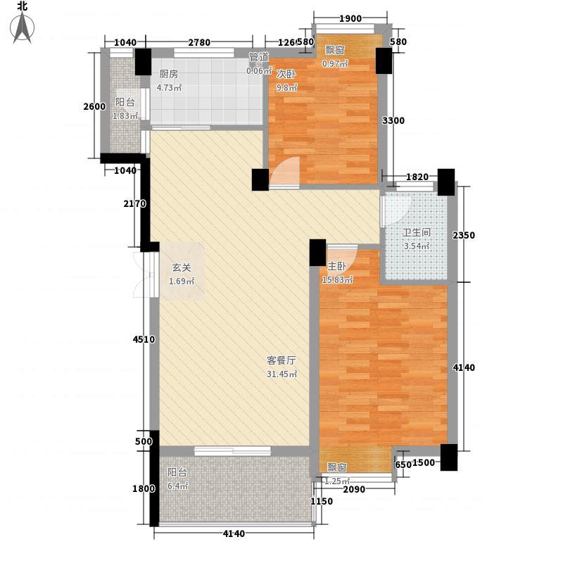博大・江山如画4.30㎡15/16/17-B户型2室2厅1卫1厨