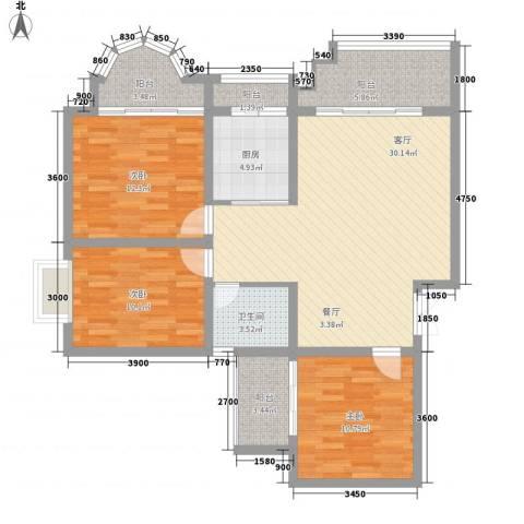 碧园花城3室1厅1卫1厨124.00㎡户型图