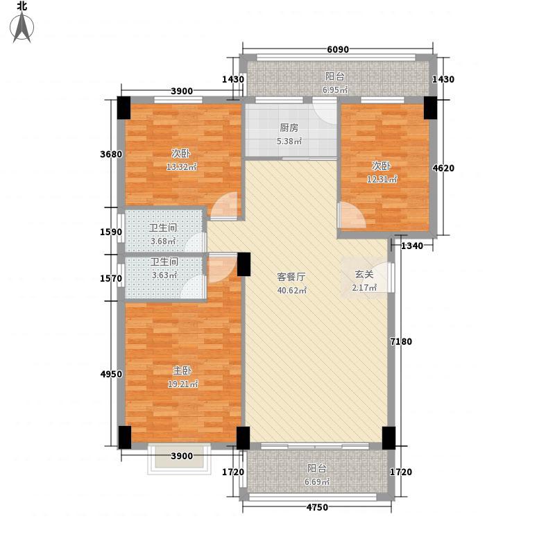 聚福雅居128.35㎡E栋01、04单元户型3室2厅2卫1厨