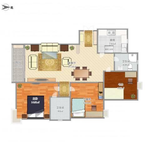 香格里拉3室1厅2卫1厨131.00㎡户型图