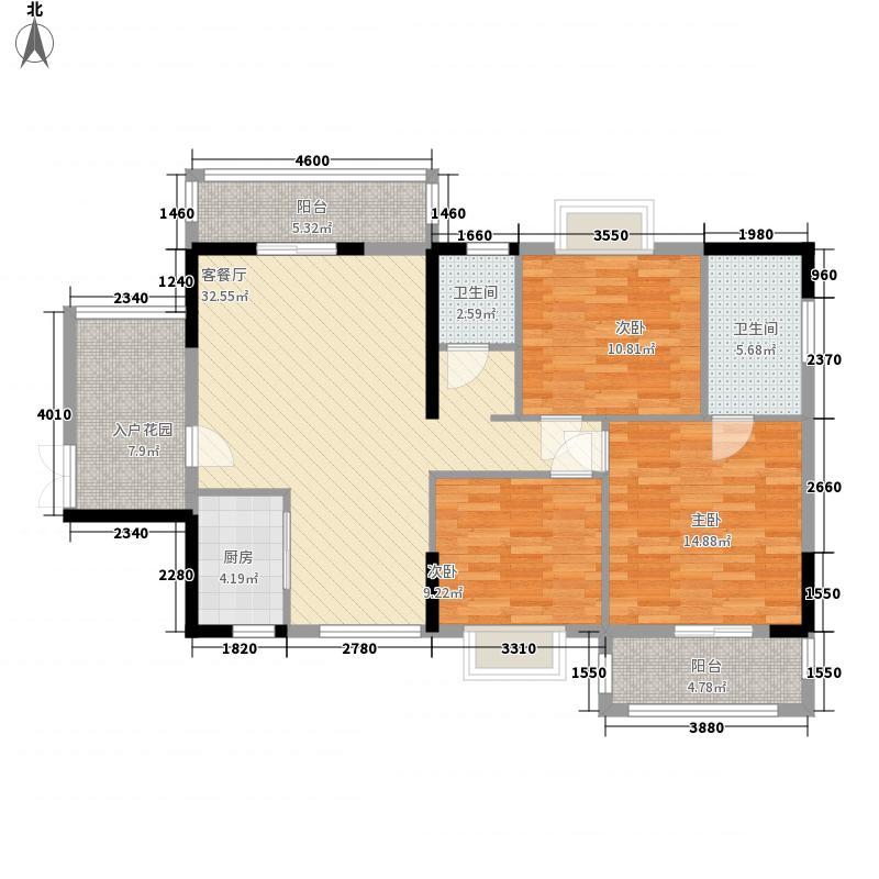 裕达・金碧天誉124.36㎡20#楼B户型3室2厅2卫1厨