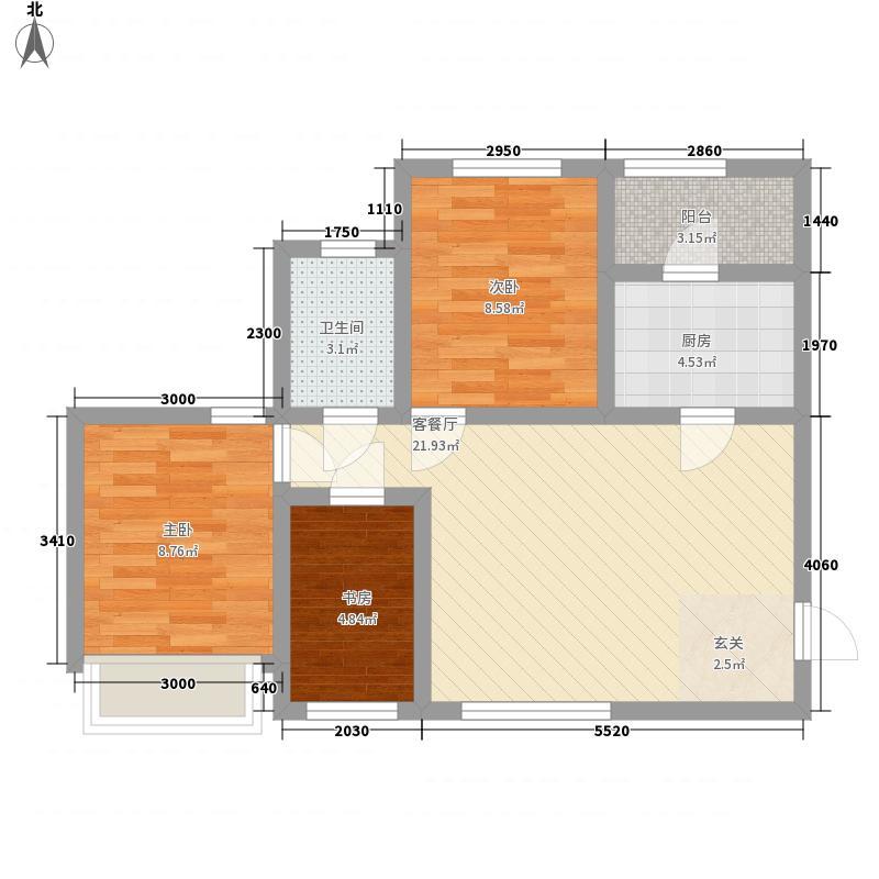 乐天世界成都项目81.00㎡1栋4栋B标准层户型3室2厅1卫1厨