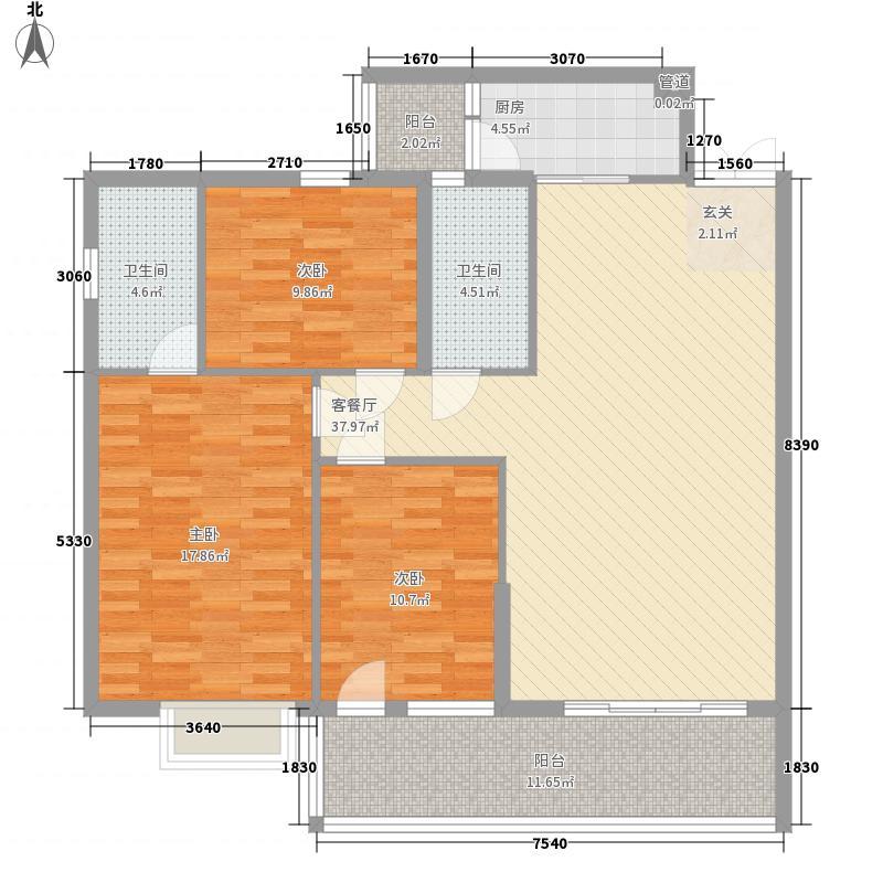 城市丽景128.50㎡d户型3室2厅2卫1厨