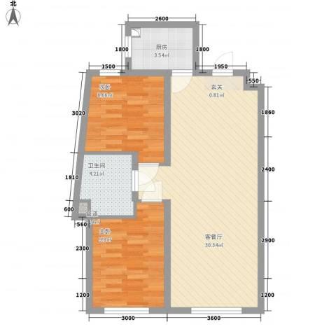 辽阳凯旋门广场2室1厅1卫1厨83.00㎡户型图