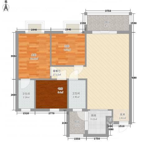朗城家园3室1厅2卫1厨88.00㎡户型图