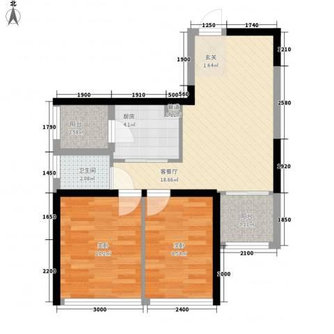金地上塘道花园2室1厅1卫1厨72.00㎡户型图