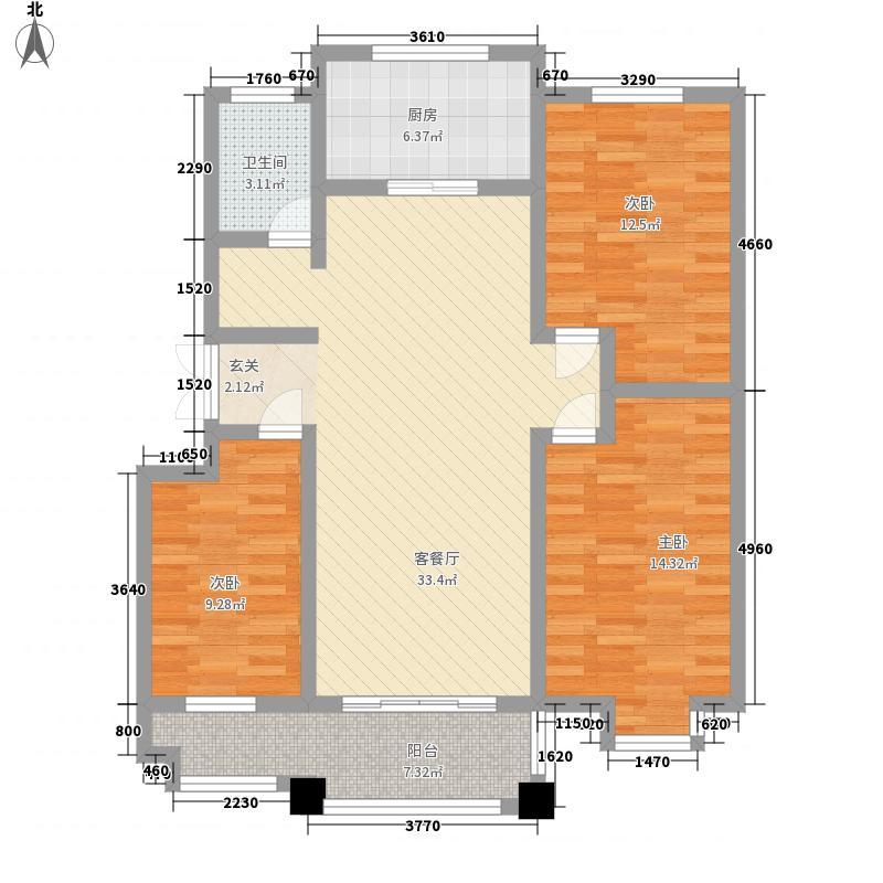 涵翠苑126.00㎡N3户型3室2卫1厨