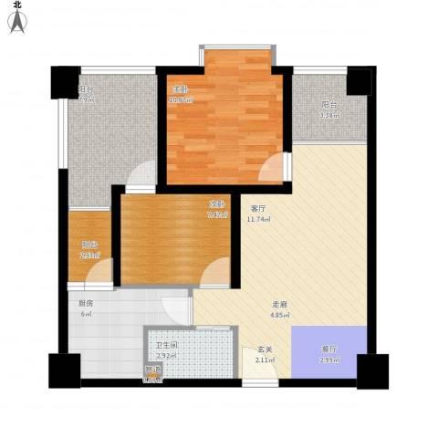 鸿阁一号2室1厅1卫1厨91.00㎡户型图