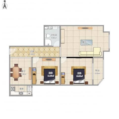 文博城1-1-16112室2厅1卫1厨107.00㎡户型图