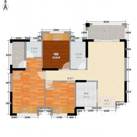 芙蓉公馆3室1厅2卫1厨111.00㎡户型图