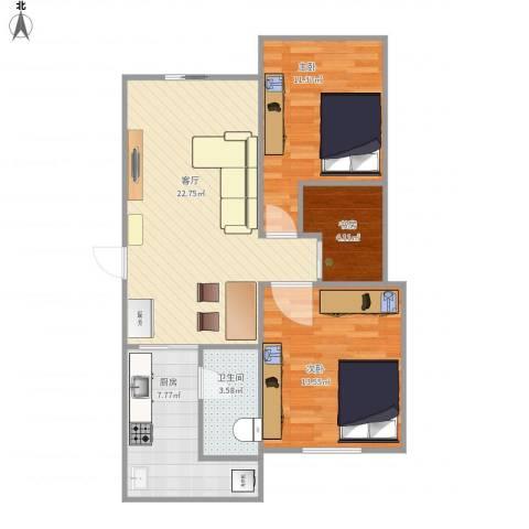 中山七路林业局宿舍3室1厅1卫1厨85.00㎡户型图