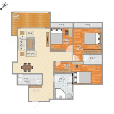红棉雅苑1室1厅2卫1厨125.00㎡户型图
