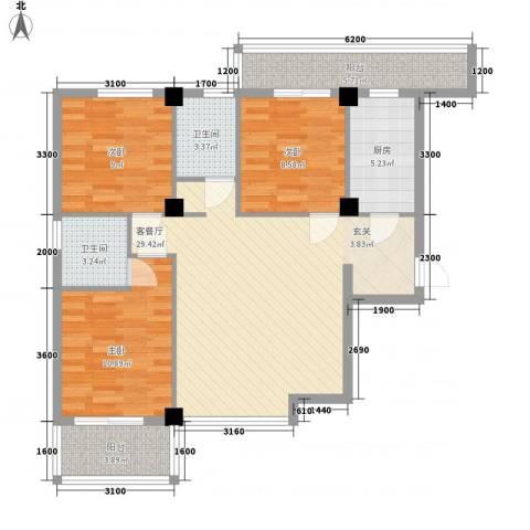 禧福泛海时代3室1厅2卫1厨113.00㎡户型图