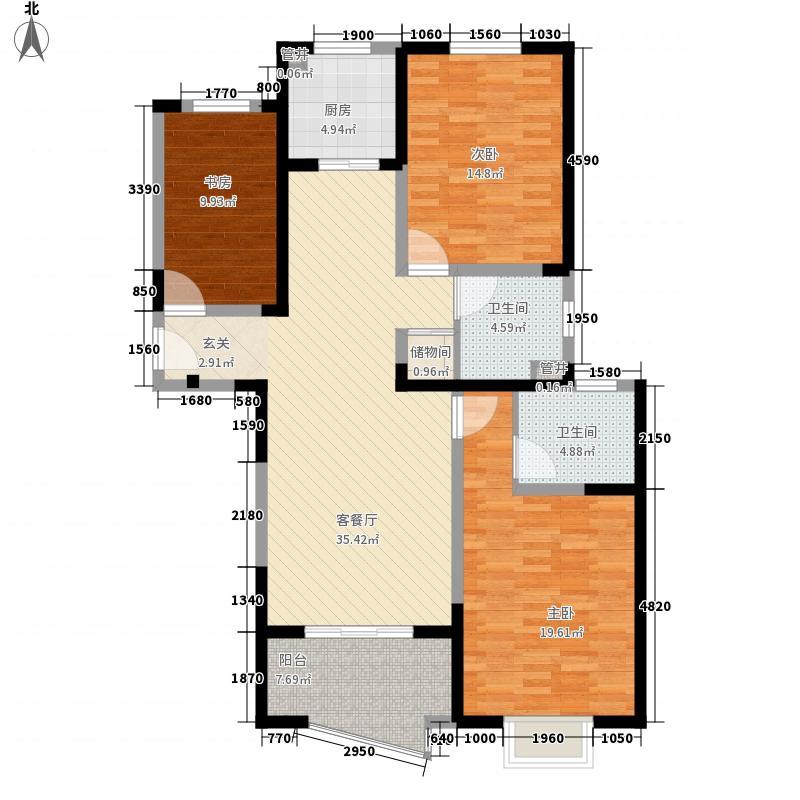 昊澜・迎宾馆148.00㎡水岸名居户型3室2厅2卫1厨