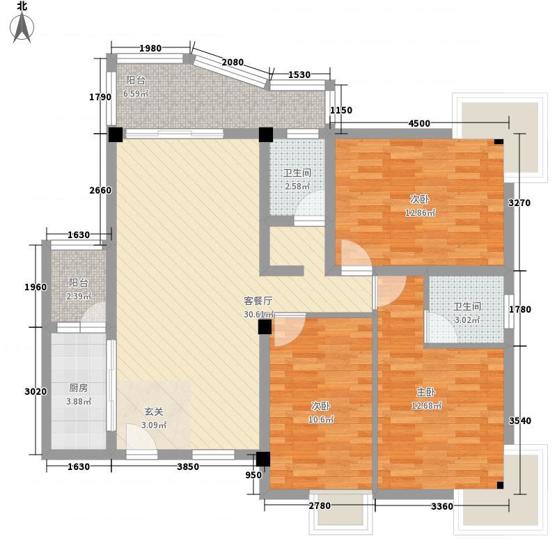昌泰盛世家园123.10㎡V户型3室2厅2卫1厨