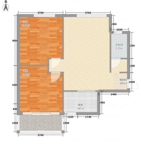 禧福泛海时代2室1厅1卫1厨95.00㎡户型图