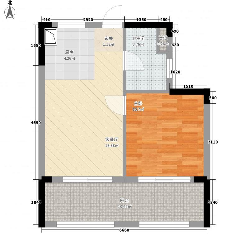首创・湖畔思香小镇53.77㎡高层B户型1室1厅1卫1厨