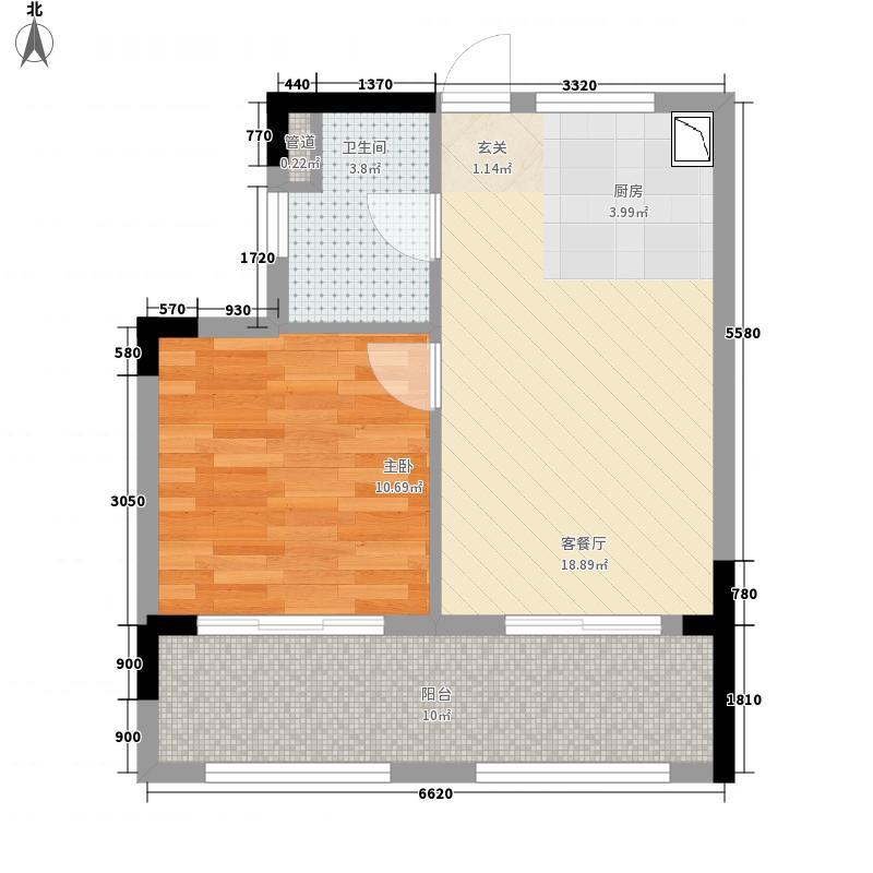 首创・湖畔思香小镇57.10㎡公寓F1户型1室1厅1卫1厨