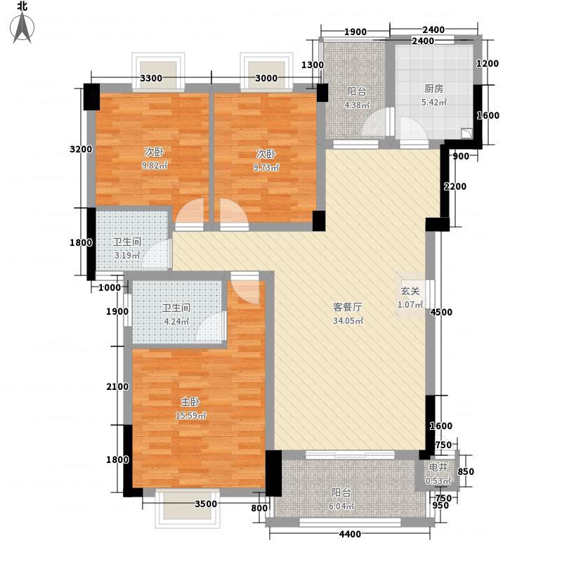 水晶郦城113.23㎡A5栋B1户型3室2厅2卫