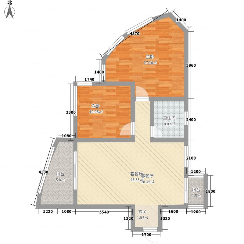 富临晶蓝湖1.28㎡1号公馆户型2室2厅1卫1厨