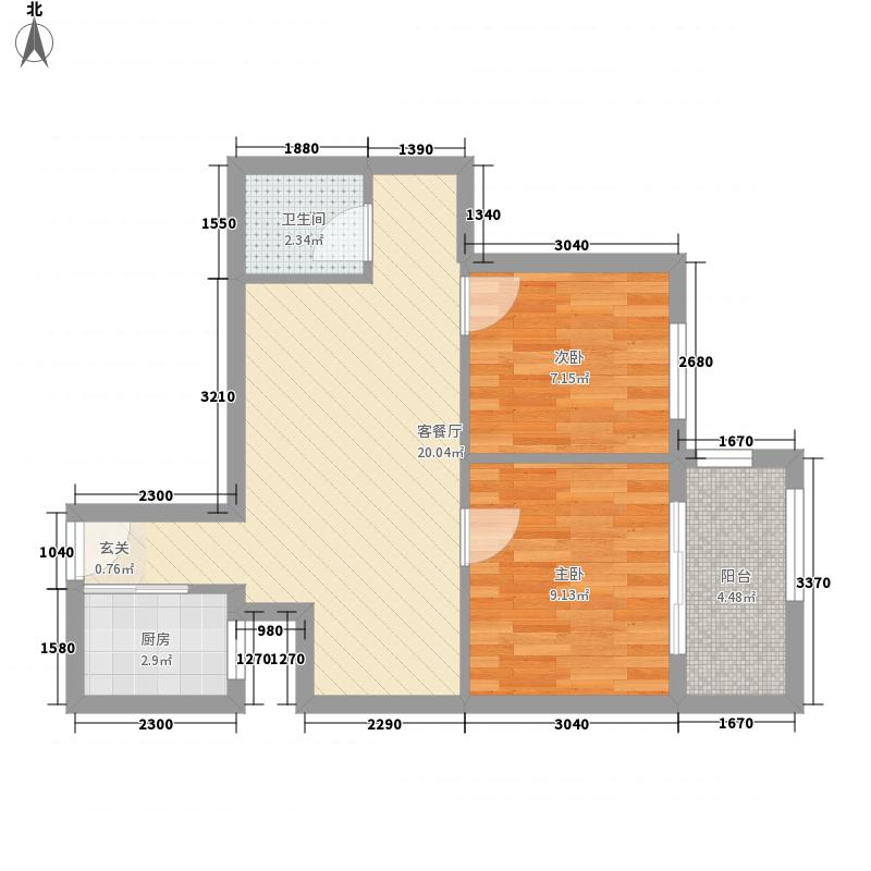 玉屏望郡66.16㎡1#A栋05单元2-8层户型2室2厅1卫1厨