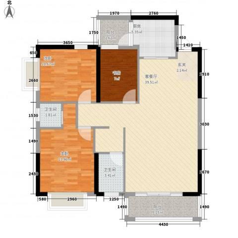 紫宸澜山3室1厅2卫1厨89.09㎡户型图
