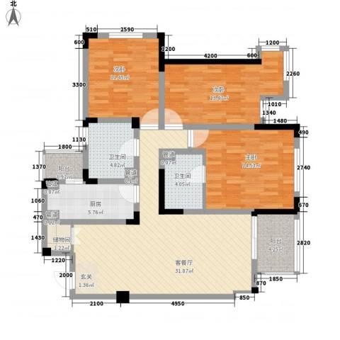 教授花园IV期碧山临海3室1厅2卫1厨135.00㎡户型图