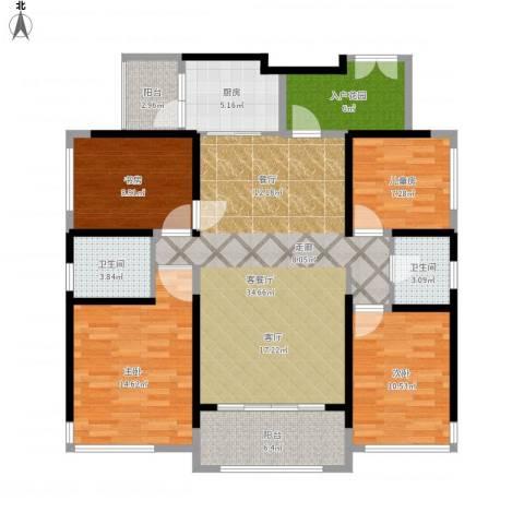 名巨中央花园4室1厅2卫1厨126.00㎡户型图