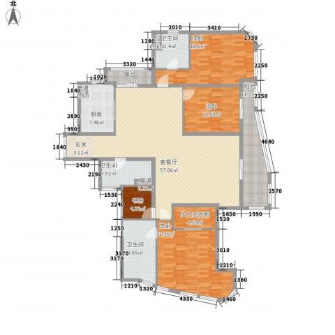 富鸿温泉公寓4室1厅3卫1厨183.48㎡户型图
