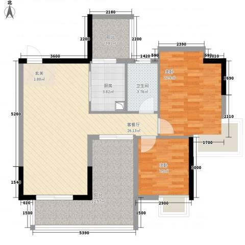 中珠上城2室1厅1卫1厨87.00㎡户型图