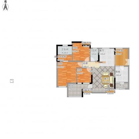 皓晖香雨蓝苑二期3室1厅2卫1厨143.00㎡户型图