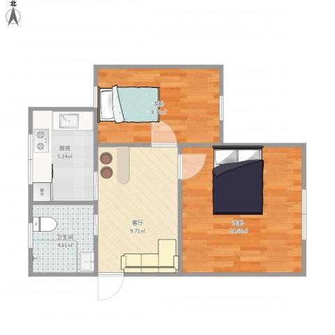 场中路2800弄小区2室1厅1卫1厨57.00㎡户型图