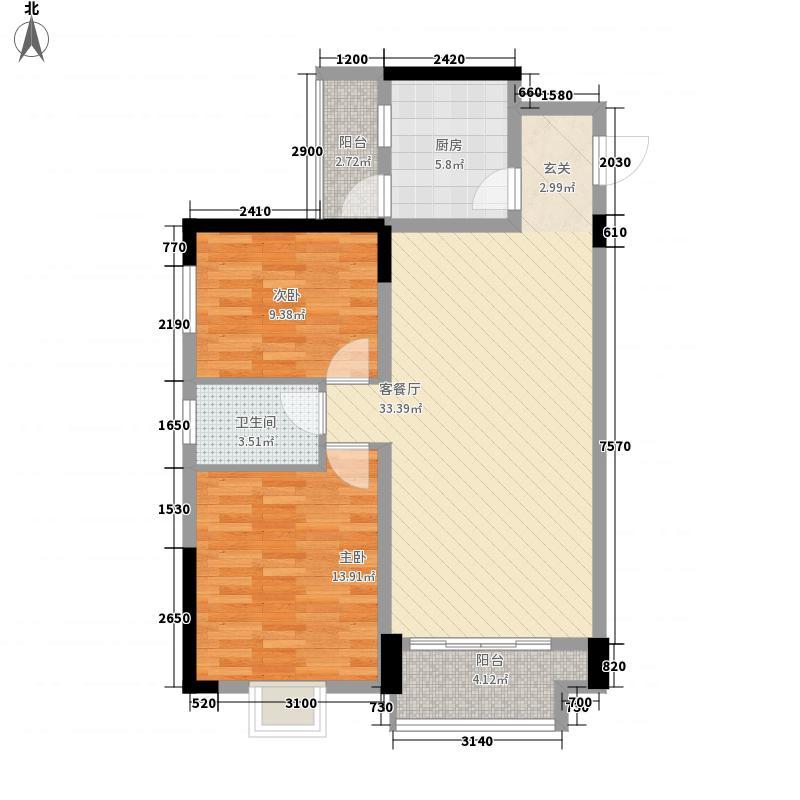 腾泰佳园2-D1户型2室2厅1卫