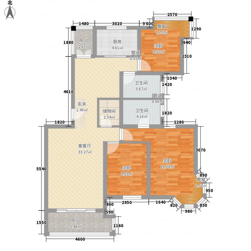 玫瑰湾131.00㎡D5户型3室2厅2卫1厨