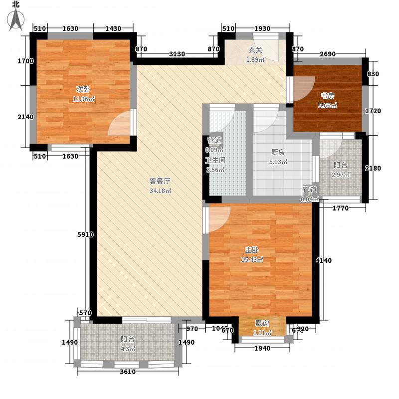 昊澜・迎宾馆121.12㎡湾景丽居户型3室2厅1卫1厨
