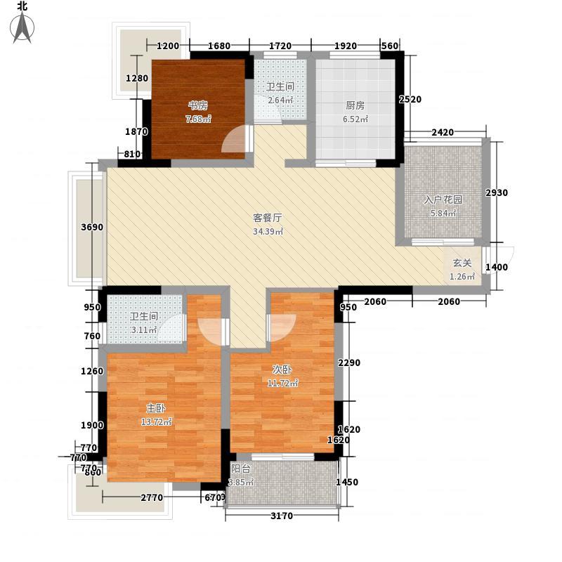 东方福郡12.00㎡C4户型3室2厅2卫1厨
