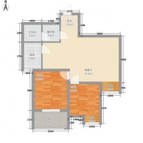 苹果城2室2厅1卫1厨65.77㎡户型图