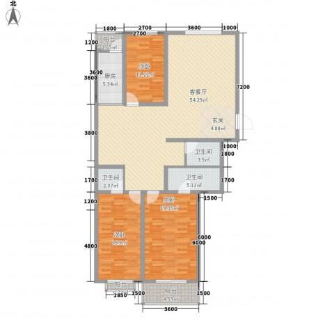 华兴太阳城・东领伯爵3室1厅3卫1厨153.00㎡户型图