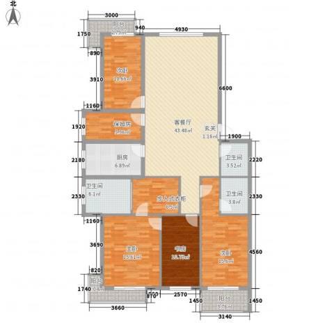 华兴太阳城・东领伯爵4室1厅3卫1厨138.44㎡户型图