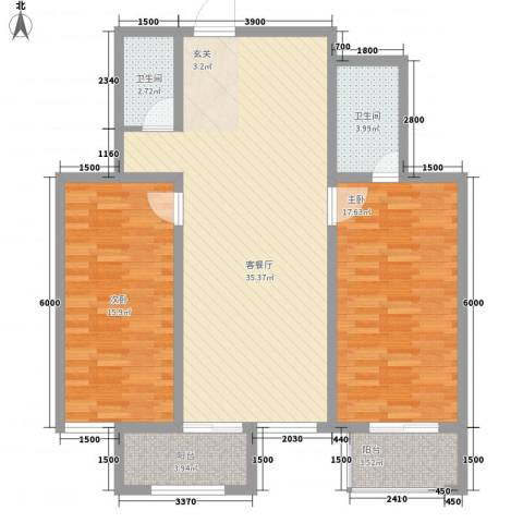 华兴太阳城・东领伯爵2室1厅2卫0厨83.06㎡户型图