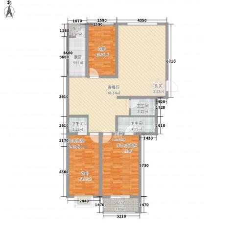 华兴太阳城・东领伯爵3室1厅3卫1厨155.00㎡户型图
