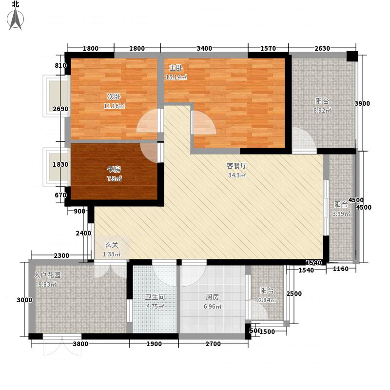曦城上品11.62㎡D栋D5户型3室2厅1卫1厨