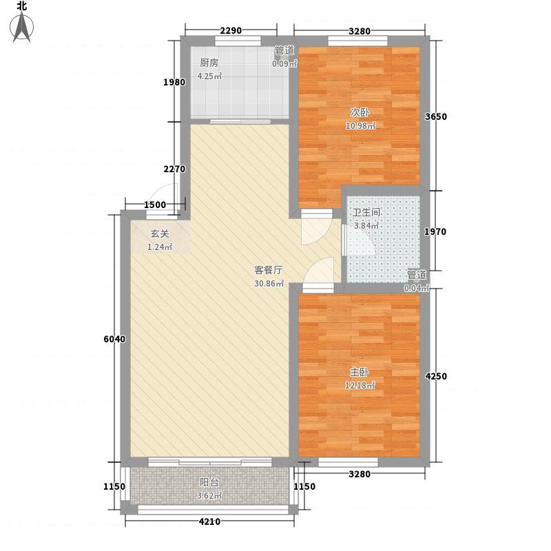 西山美郡1.50㎡10095户型2室2厅1卫1厨