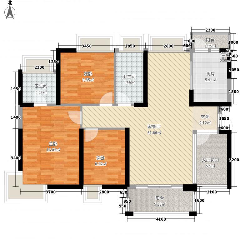宝豪・御龙湾二期111.17㎡C户型3室2厅2卫1厨