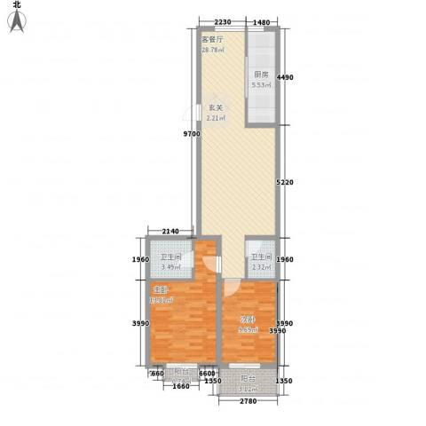 华兴太阳城・东领伯爵2室1厅2卫1厨67.48㎡户型图