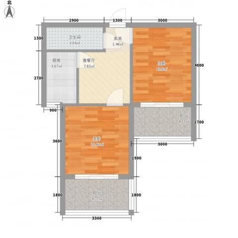 禧福泛海时代2室1厅1卫1厨65.00㎡户型图