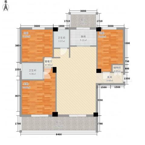 禧福泛海时代3室1厅2卫1厨153.00㎡户型图